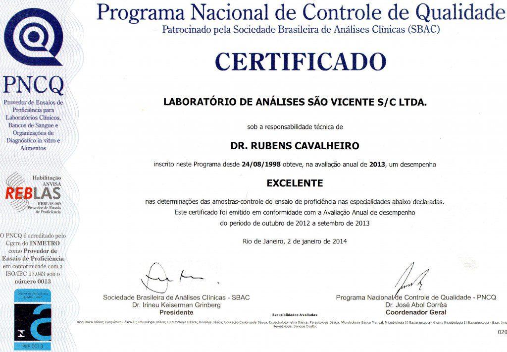 Certificado PNCQ / SBAC - Laboratório São Vicente