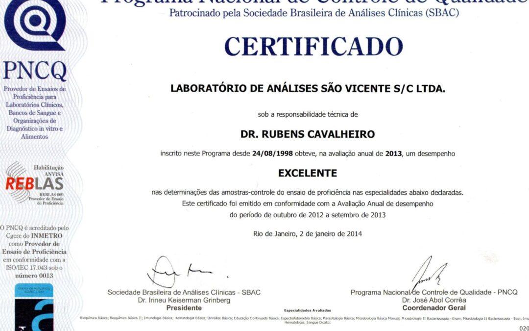Certificado PNCQ, excelência em serviços laboratoriais